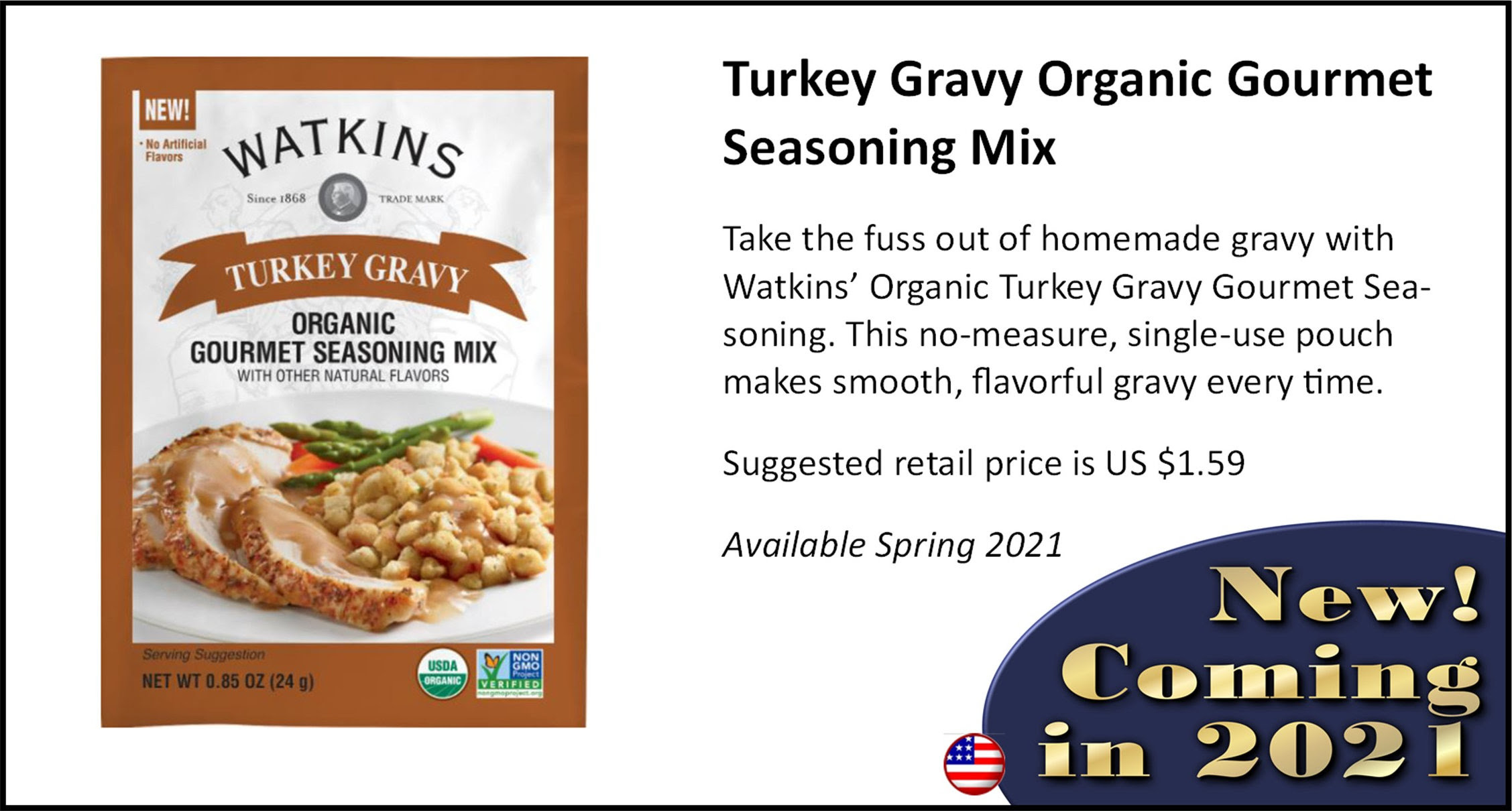Watkins Turkey Gravy Organic Gourmet Seasoning Mix