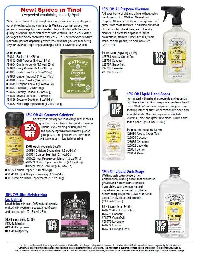 Watkins Sales Products for April