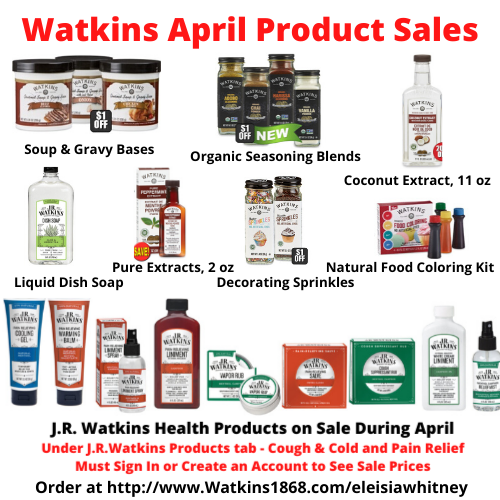 Watkins April Product Sales