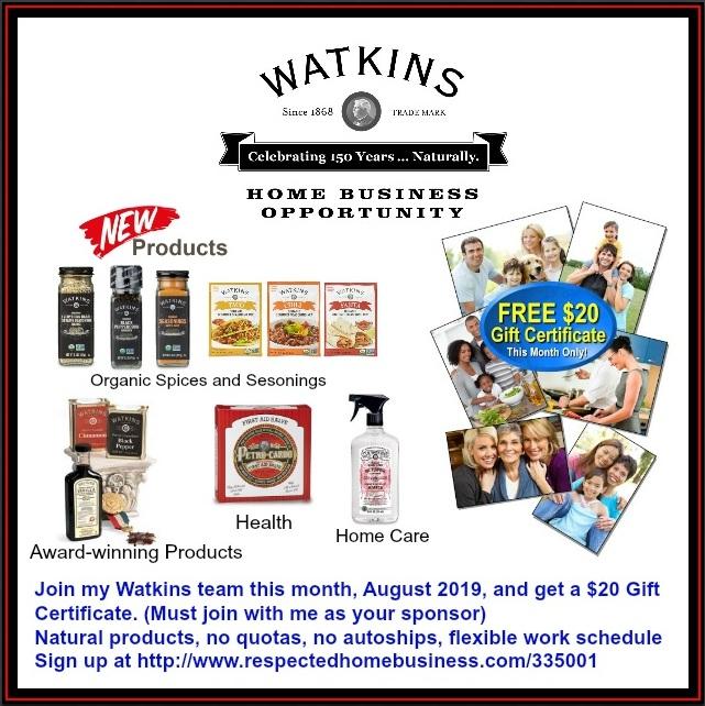 Watkins Business - FREE $20 Gift Certificate