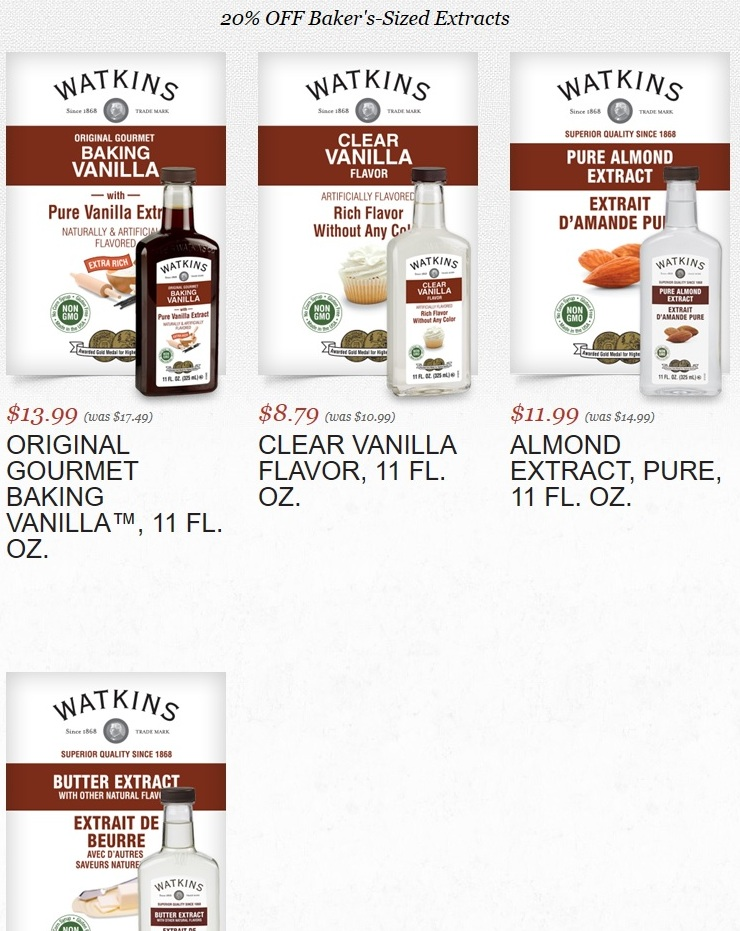 Watkins 11 fluid ounce extracts on sale in July