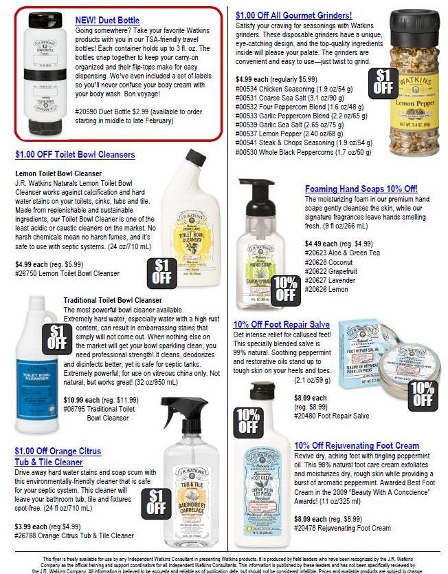 Watkins February Product Sales