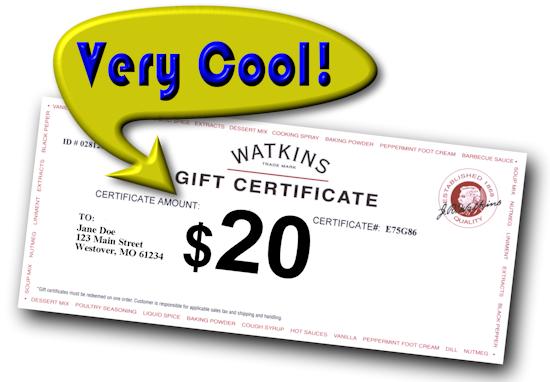 FREE $20 Watkins Gift Certificate