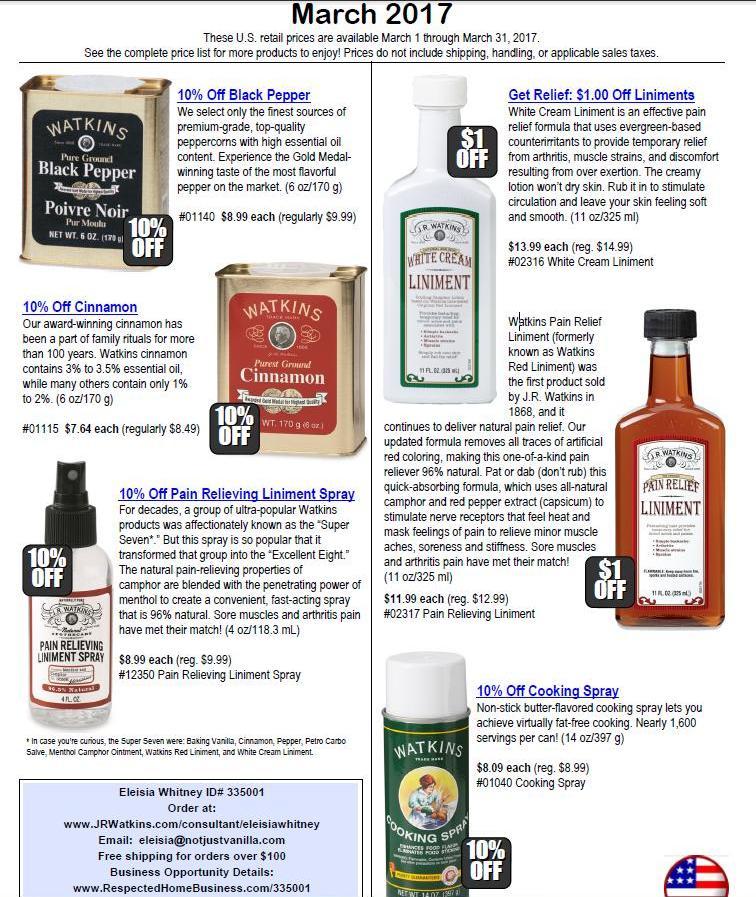 JR Watkins March Product Sales