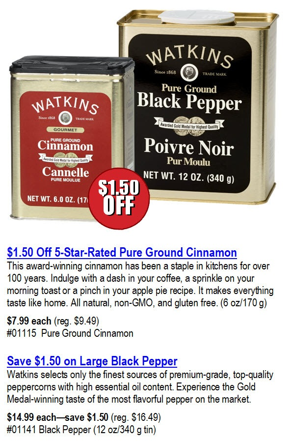 Watkins Cinnamon and Black Pepper Sale