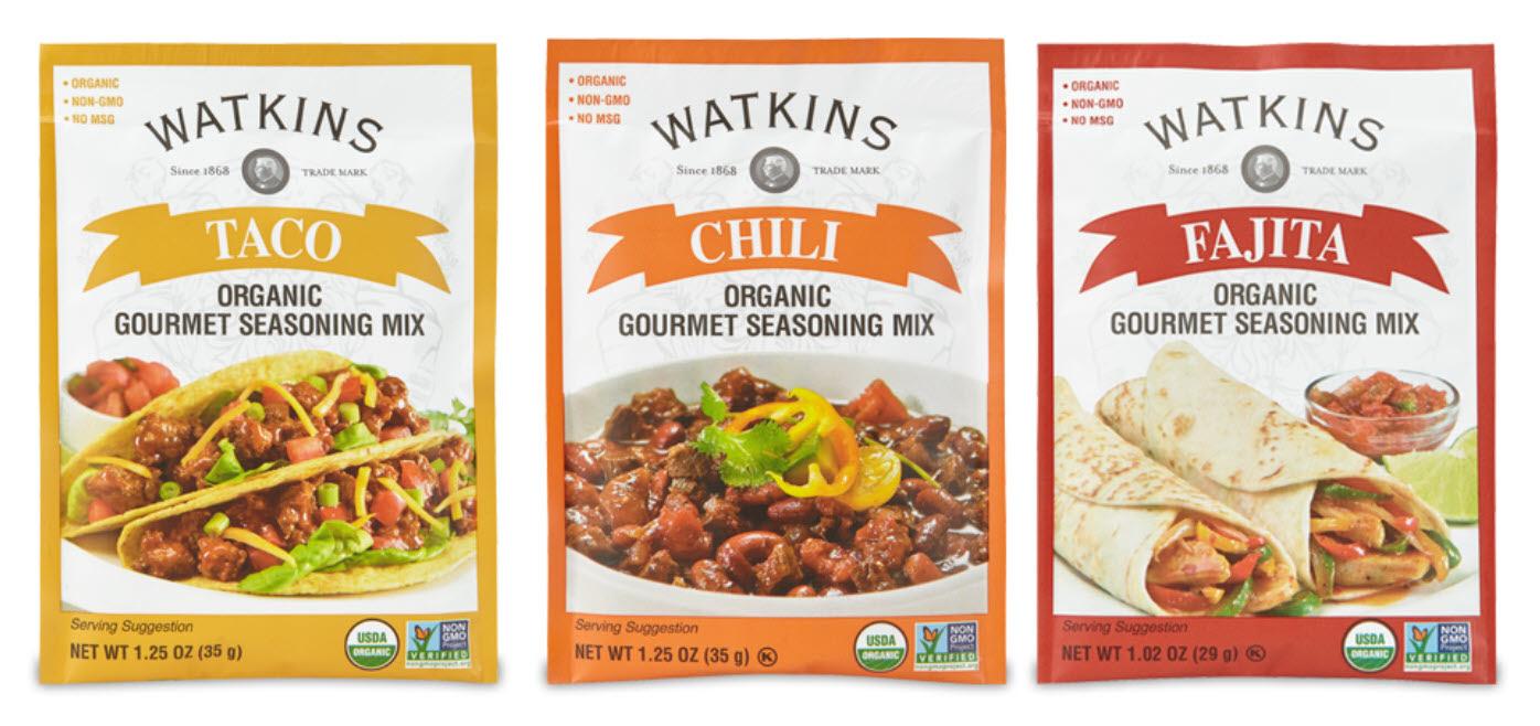 Watkins Organic Seasoinig Mixes - Chili, Taco, Fajita