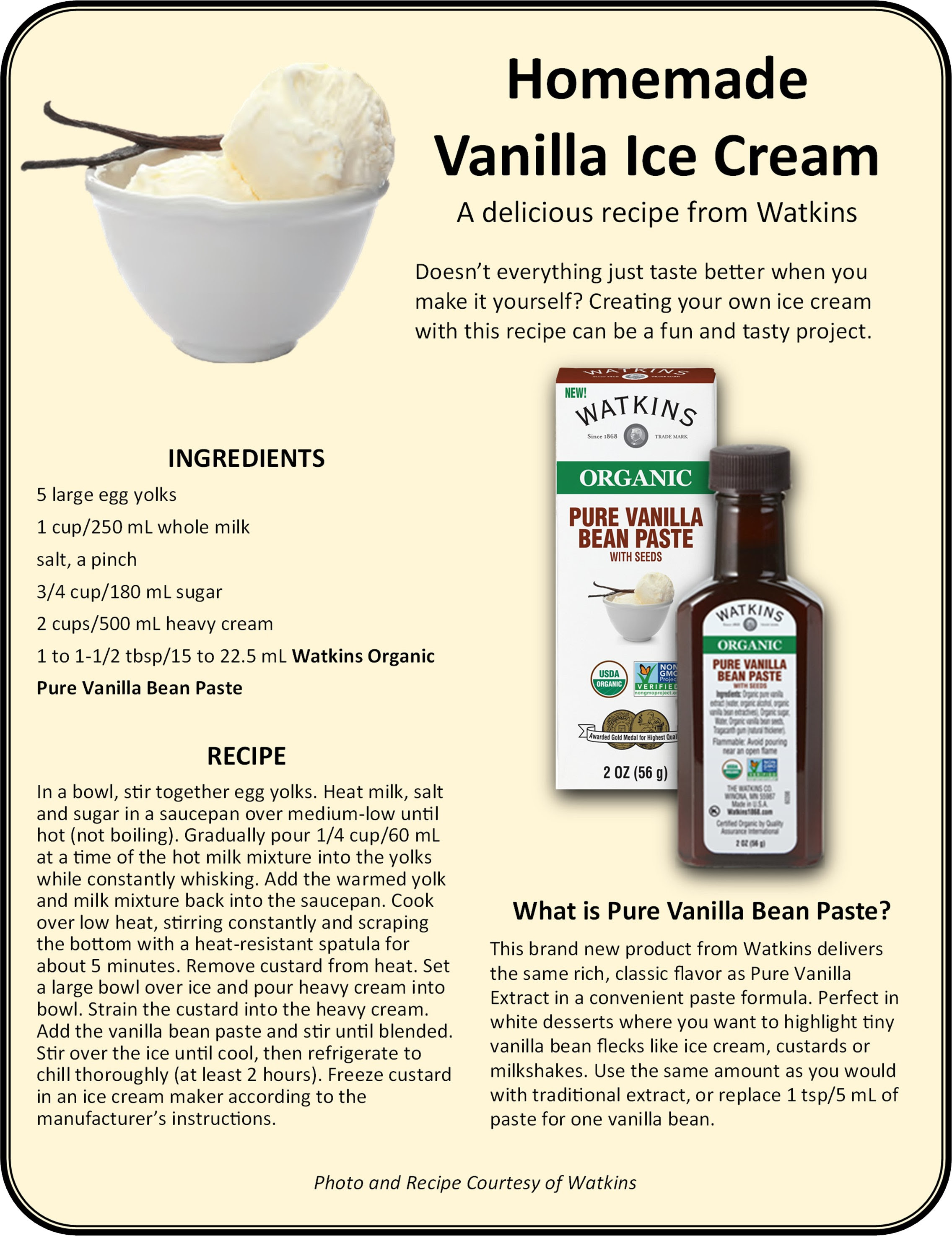 Recipe for Homemade Vanilla Ice Cream